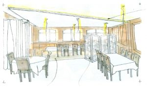 Croquis des rénovations du restaurant